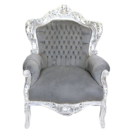 ARMCHAIR - BAROQUE STYLE ARMCHAIR SILVER & GREY # F30MB140